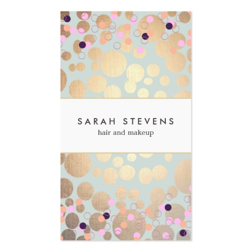 Gold Circles and Confetti Pattern Beauty Salon Business Card Templates