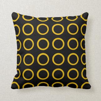 Gold Circles Black Cushion