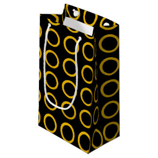 Gold Circles Black Small Gift Bag