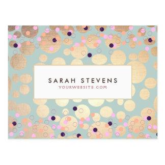 Gold Circles Colorful Confetti Beauty Salon Fun Post Cards
