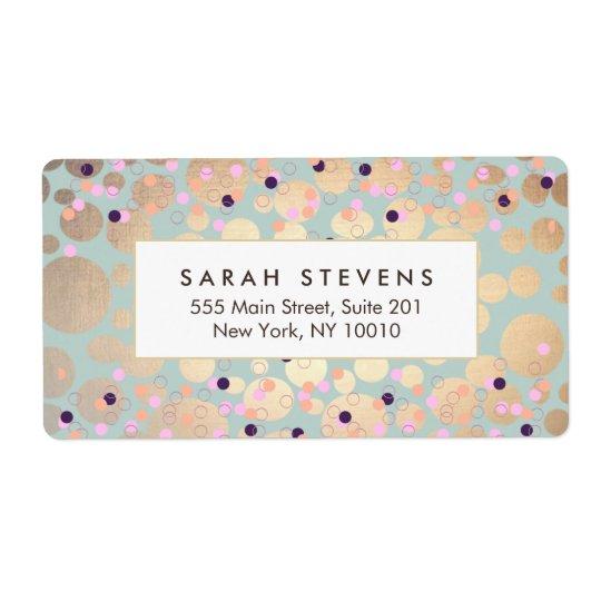 Gold Circles Colourful Confetti Beauty Salon Fun Shipping Label