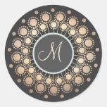 Gold Circles Ornate Monogrammed  Black Round Sticker