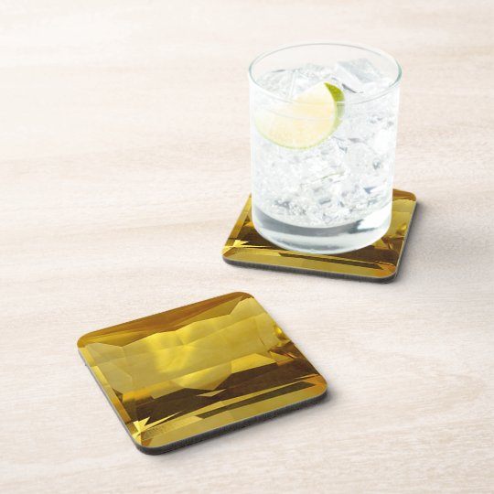 Gold Citrine Beverage Coasters