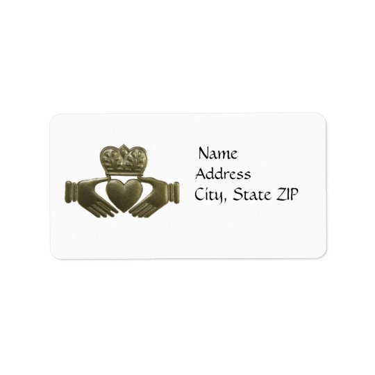 Gold claddagh address labels