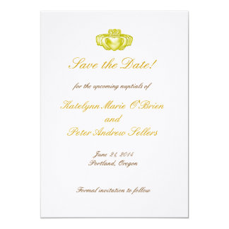 Gold Claddagh Ring Save the Date Card