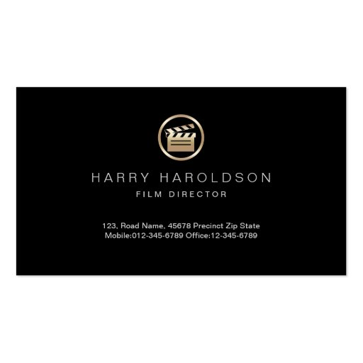 Gold Clapperboard Icon Film Direcor Business Card