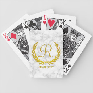Gold Classic Monogram Laurel Leaf White Marble Bicycle Playing Cards