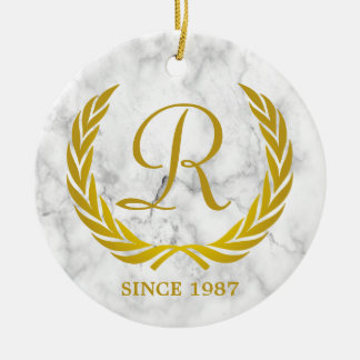 Gold Classic Monogram Laurel Leaf White Marble Christmas Ornament