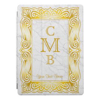 Gold Classic Monogram Laurel Leaf White Marble iPad Pro Cover