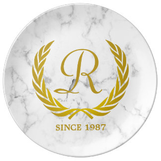 Gold Classic Monogram Laurel Leaf White Marble Plate