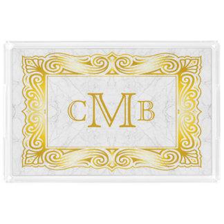 Gold Classic Monogram Ornate Frame White Marble Acrylic Tray