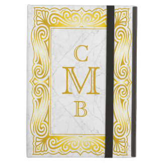 Gold Classic Monogram Ornate Frame White Marble Cover For iPad Air