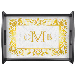 Gold Classic Monogram Ornate Frame White Marble Serving Tray