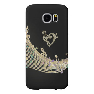 Gold Clef Heart and Music Notes Galaxy S6 Case