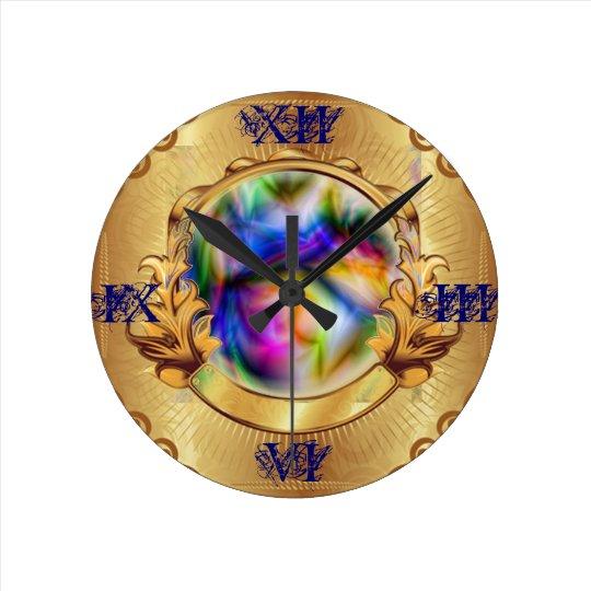 gold clock framed magic crystal ball swirl