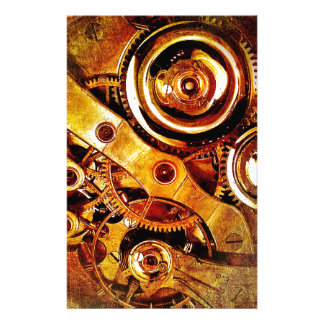Gold Clock Parts Personalized Stationery