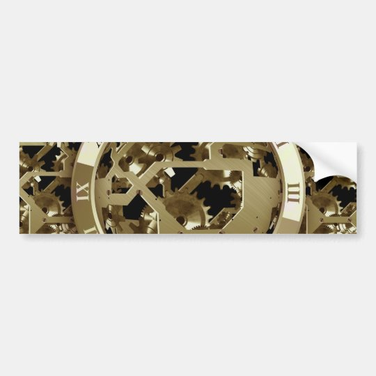 Gold Clocks and Gears Steampunk Mechanical Gifts Bumper