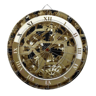 Gold Clocks and Gears Steampunk Mechanical Gifts Dartboard