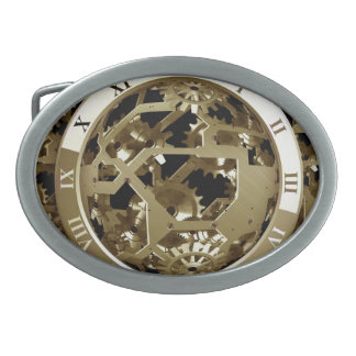 Gold Clocks and Gears Steampunk Mechanical Gifts Oval Belt Buckle