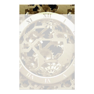 Gold Clocks and Gears Steampunk Mechanical Gifts Stationery Paper