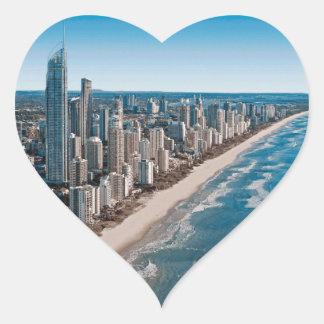 Gold Coast Australia Aerial View Heart Sticker