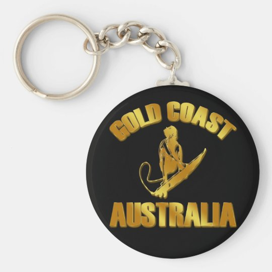 GOLD COAST AUSTRALIA BASIC ROUND BUTTON KEY RING