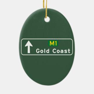 Gold Coast, Australia Road Sign Christmas Ornament