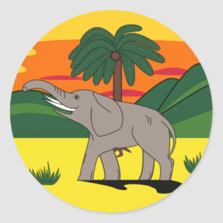 Gold Coast Elephant and Palm Tree Sticker