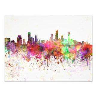Gold Coast skyline in watercolor background Photographic Print