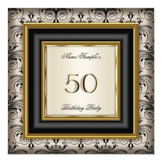 Gold Coffee Beige Cream Black Damask Birthday 2B 13 Cm X 13 Cm Square Invitation Card