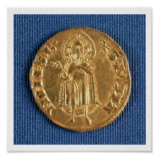 Gold coin, with St. John the Baptist, 16th century Poster
