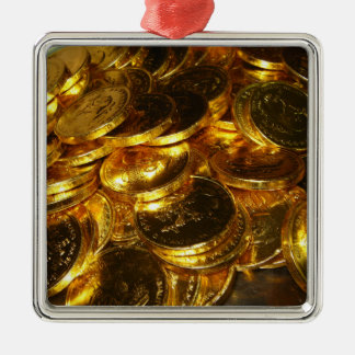 GOLD COINS 1 Silver-Colored SQUARE DECORATION