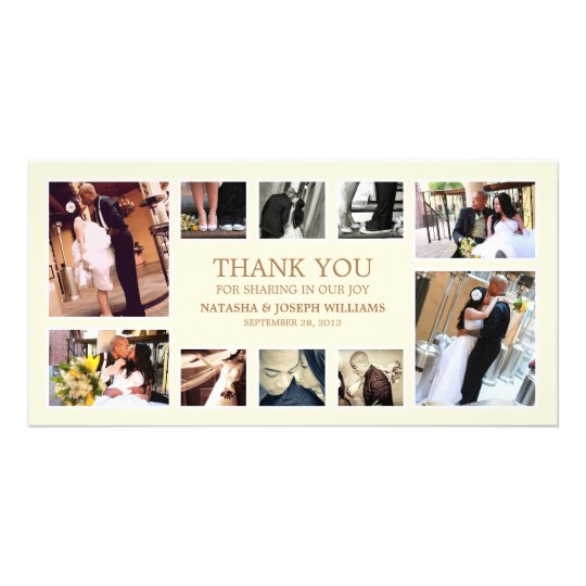 GOLD COLLAGE   WEDDING THANK YOU CARD