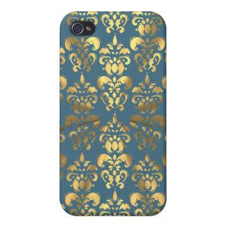 Gold color damask on grey/blue iPhone 4 case