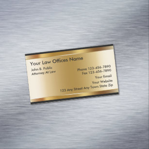 Gold Colored Background Attorney Magnetic Business Card