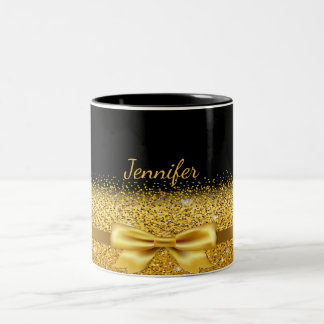 Gold colored bow with sparkle on black add name Two-Tone coffee mug