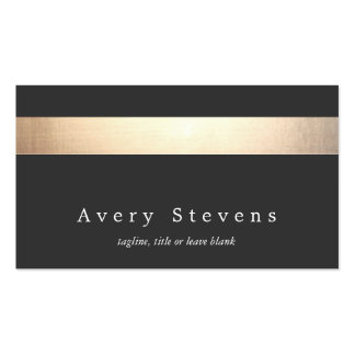 Gold Colored Striped Modern Stylish Charcoal Business Card Templates