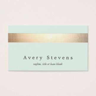 Gold Colored Striped Modern Stylish Light Blue Business Card