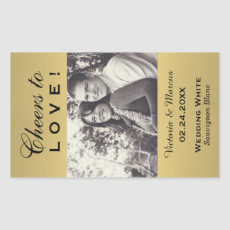 Gold Colored Wedding Photo Wine Bottle Favor Rectangle Stickers
