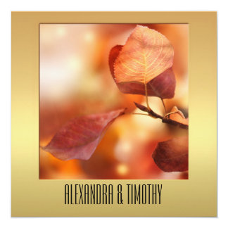 Gold Colorful Fall Leaves Wedding Invitation