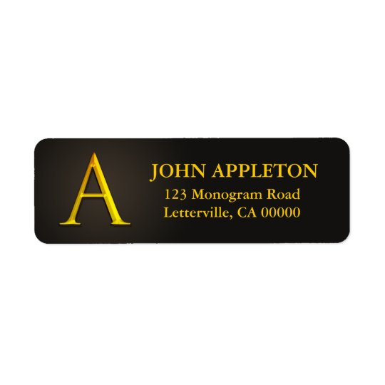 Gold Colour Monogram A Return Address Labels