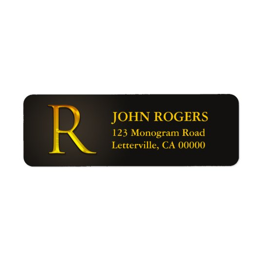 Gold Colour Monogram R Return Address Labels