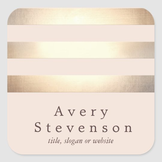Gold Coloured Striped Modern Light Pink Chic Square