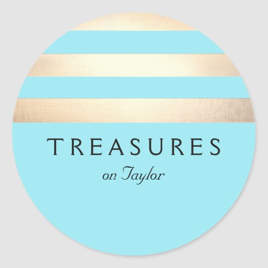 Gold Coloured Striped Modern Turquoise Blue Classic Round