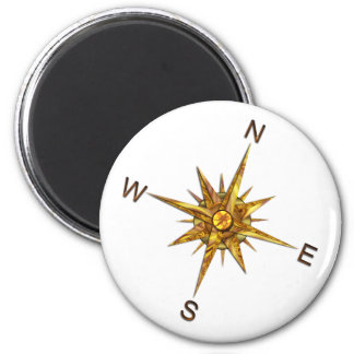 Gold Compass Points Navigation 6 Cm Round Magnet