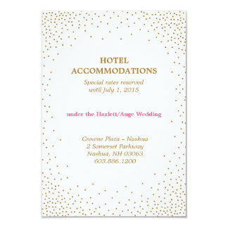 GOLD CONFETTI accommodations card