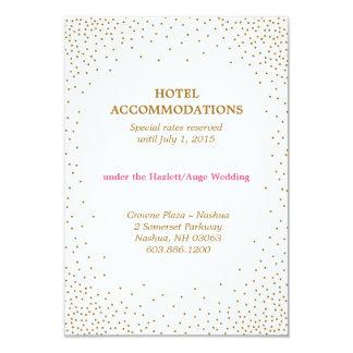"""GOLD CONFETTI accommodations card 3.5"""" X 5"""" Invitation Card"""