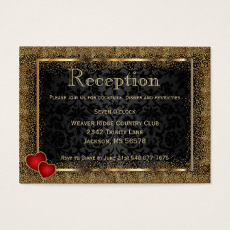 Gold Confetti and Black Damask - Reception Business Card