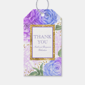 Gold Confetti and Blue and Purple Floral Gift Tags