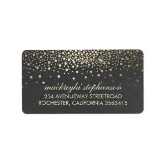 Gold Confetti and Fireflies Chalkboard Wedding Address Label